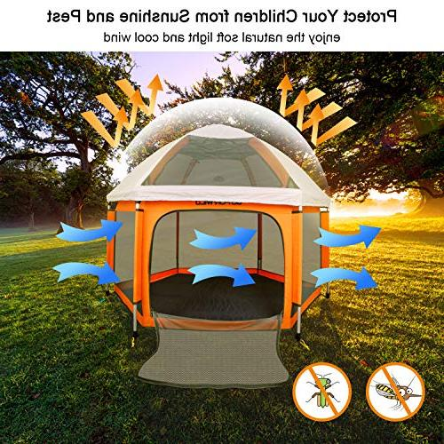 Portable Playard Safety for and Babies, Plus Insect and Anti UV Canopy Outdoor GOFORWILD