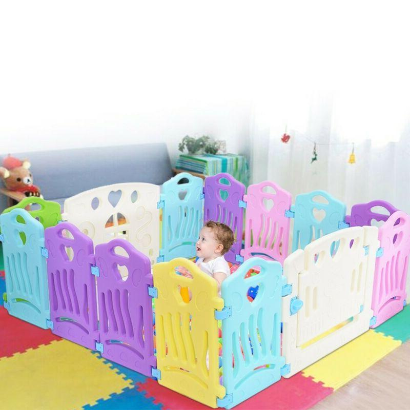 14 Panel Baby Playpen Kids Safety Play Center Yard Home Indo