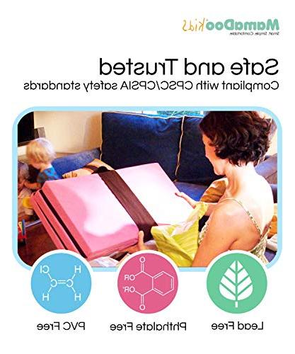 MamaDoo Kids Smart Yard Mattress , The Foldable Pack Play with , Travel & Storage Silver Grey