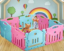 Mixed Baby Playpen Kids 14 Panel Safety Play Center Yard Hom