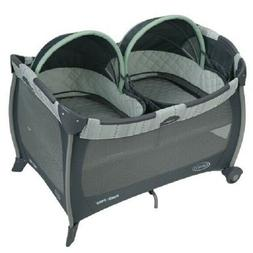 GRACO PACK N PLAY PLAY YARD WITH TWINS BASSINET,MASON,GRAY,D