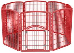 Pet Playpen Plastic Puppy Pen Kennel Indoor Outdoor Cage Red