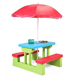 JAXPETY Kids Picnic Table With Umbrella Plastic Folding Outd