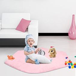 Sunba Youth Pink Hexagon Pad Coral Soft Mat Rug Carpet for K