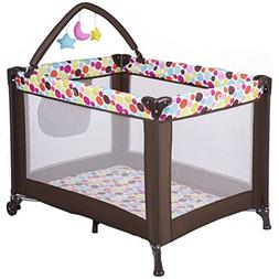 Costzon Baby Playard, Foldable Travel Bassinet Bed with Whir