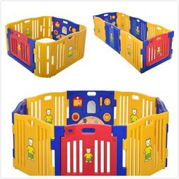 Play Yard Safety Gate Playpen Kids Infant Baby Door Fence In