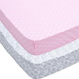 Playard Sheets, 2 Pack Pink Quatrefoil & Gray Floral Fitted