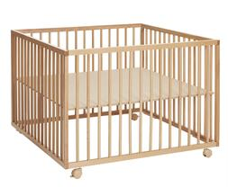 Playpen Natural Wooden Crib Bed play yard complete with soft