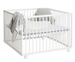 Playpen White Wooden Crib Bed play yard complete with soft m