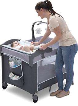 Portable Baby Play Yard With Removable Bassinet And Changing