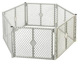 NORTH STATE IND INC Portable Play Yard, 6-Panel, Light Gray