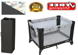 Portable Play Yard Play Bed Automatically Folding Feet Wheel
