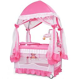BABYJOY Portable Playard, Convertible Baby Playpen with Remo