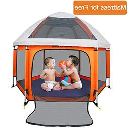 Portable Playard Playpen with Safety Mattress for Infants an