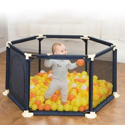 Portable Playpen Safety Play Yard Plastic Folding Fence Baby
