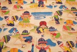 Vintage Children Playing Colorful Fabric Good for Kids Curta