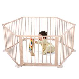 LAZYMOON Wood Baby Playpen 6 Panel Kids Safety Play Center Y